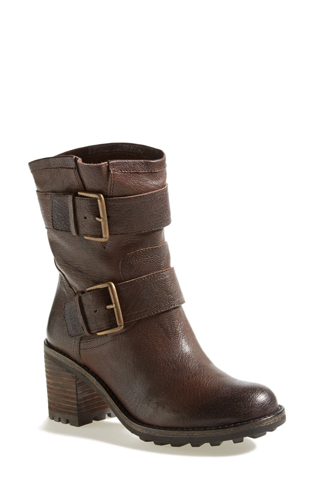 'Troy' Moto Boot,                         Main,                         color, Dark Brown Leather