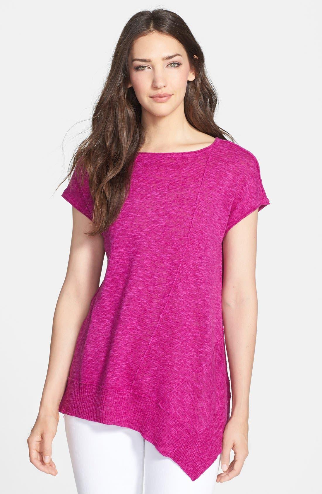 Cap Sleeve Organic Linen & Cotton Scoop Neck Top,                             Main thumbnail 1, color,                             Cerise