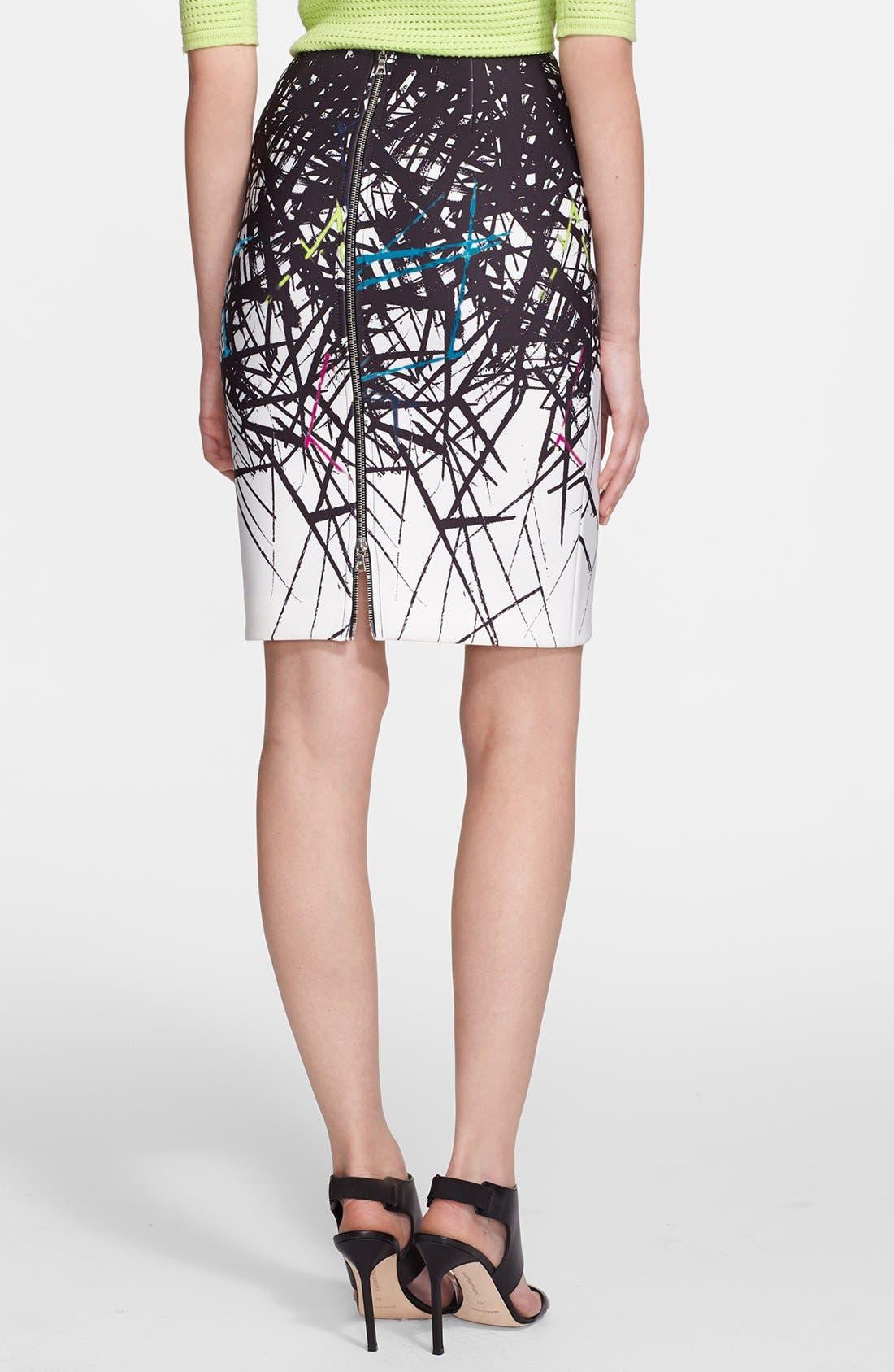 Alternate Image 2  - Yigal Azrouël Branch Print Scuba Skirt