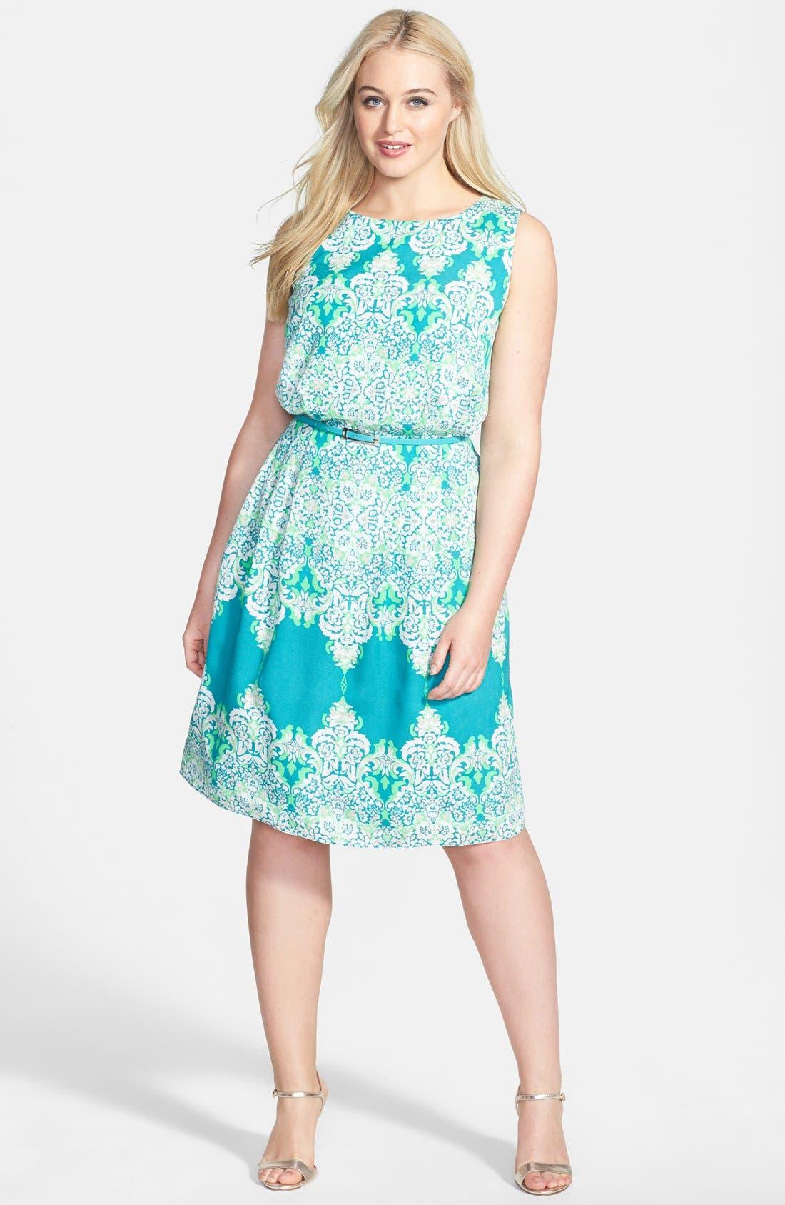 Main Image - Adrianna Papell Print Belted Sleeveless Crêpe de Chine Dress (Plus Size)