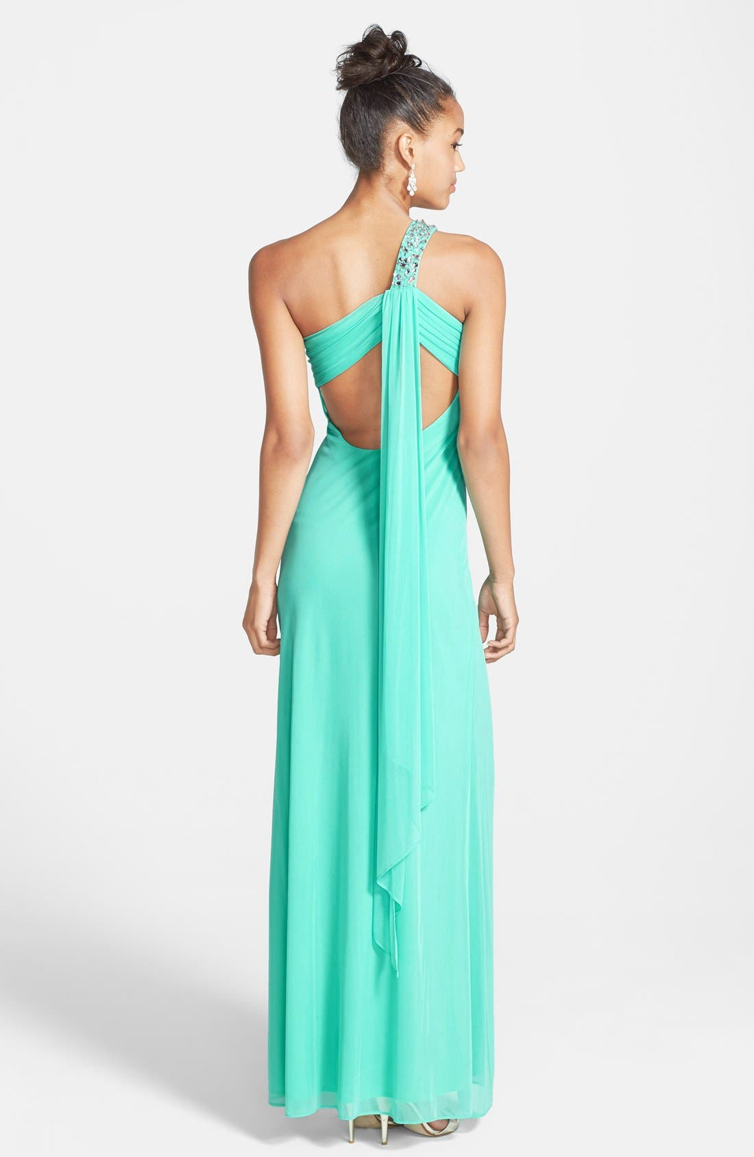 Alternate Image 2  - Betsy & Adam Beaded Shoulder Chiffon & Jersey Gown