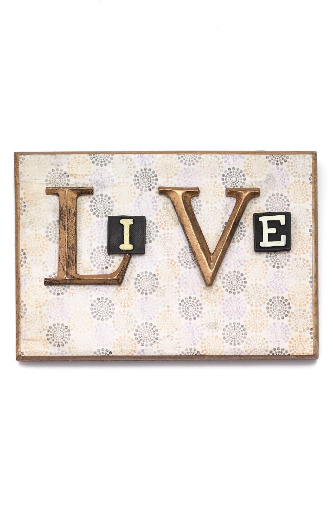 Alternate Image 1 Selected - Creative Co-Op 'Live' Embellished Wooden Wall Art