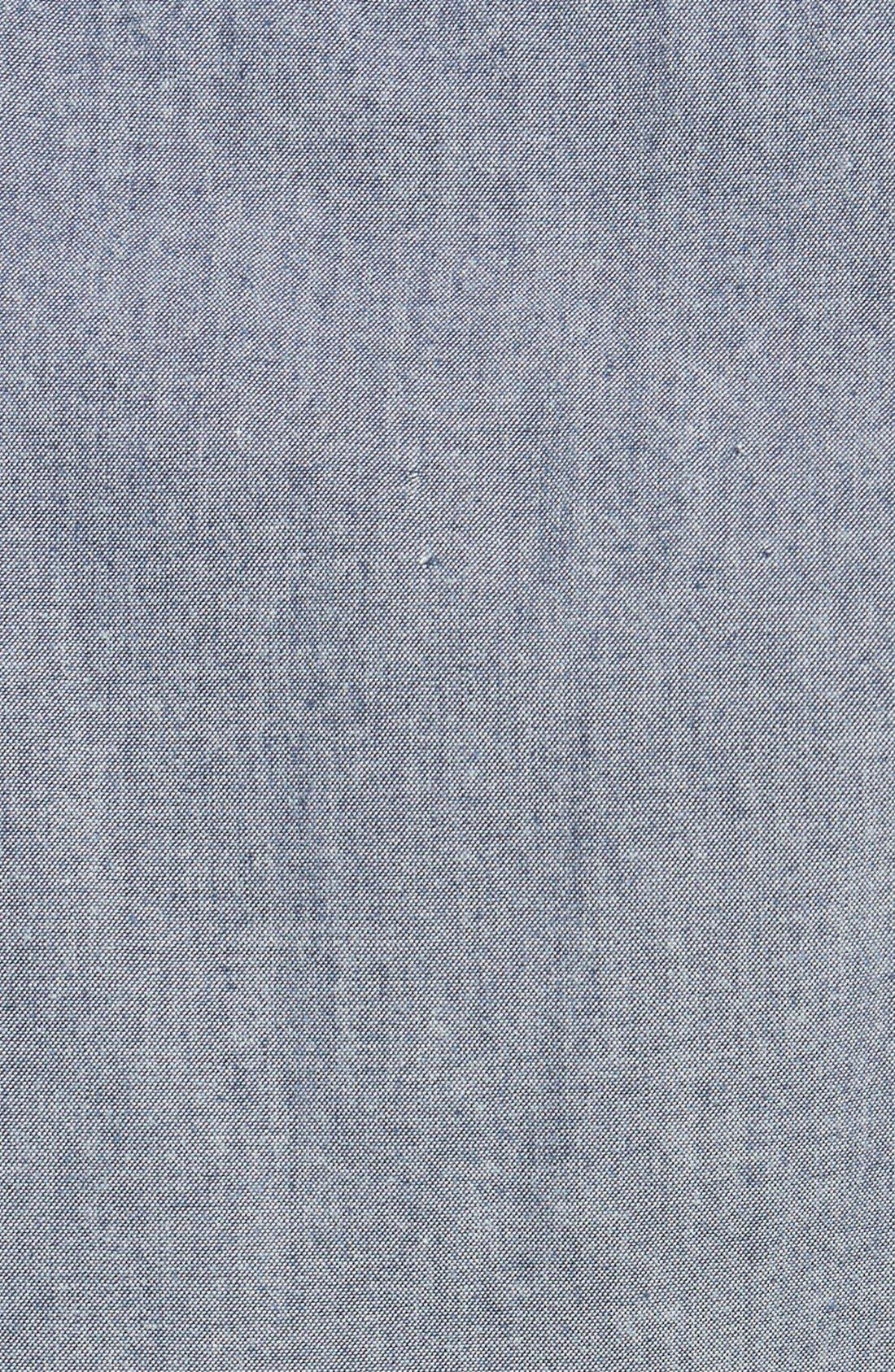 'Workwear' Trim Fit Chambray Sport Shirt,                             Alternate thumbnail 3, color,                             Light Blue