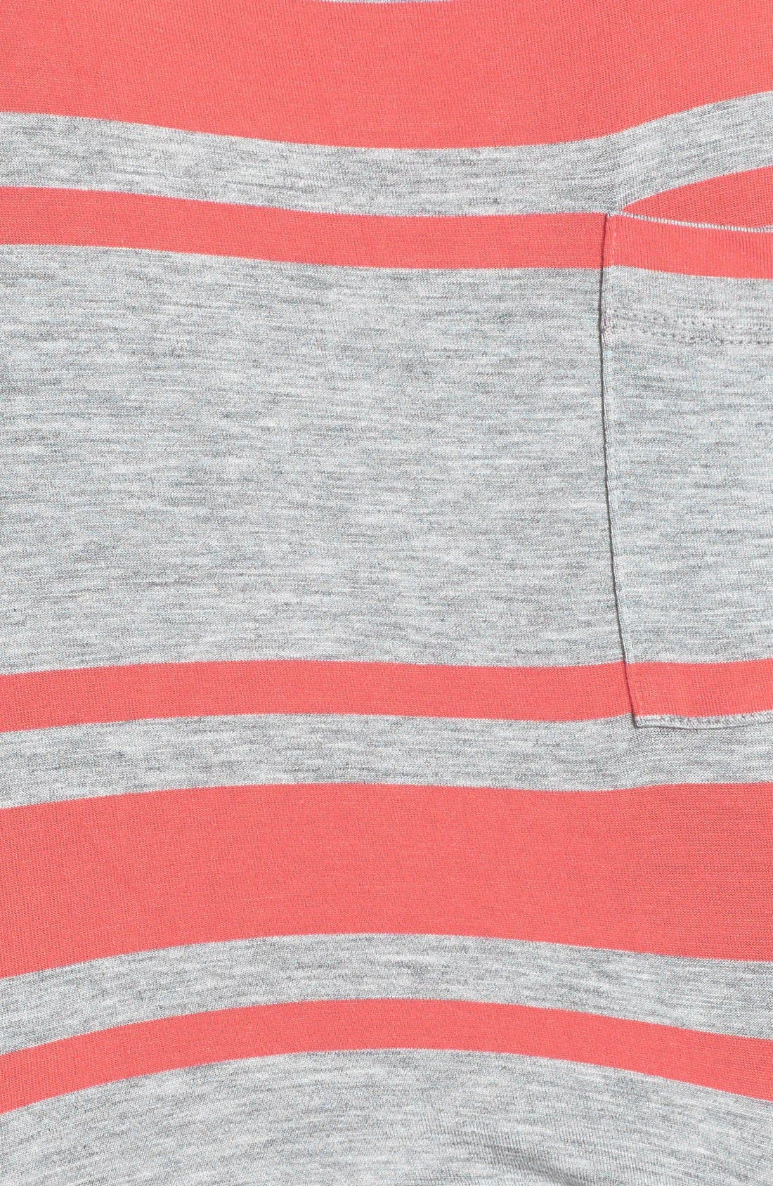 Drawstring Jersey Maxi Dress,                             Alternate thumbnail 3, color,                             Heather Grey/ Coral Stripe