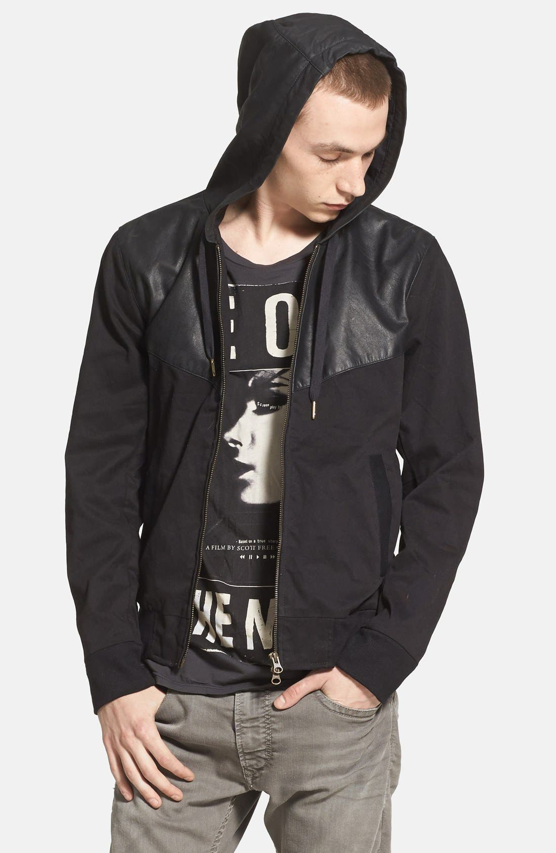 Alternate Image 1 Selected - ZANEROBE Zip Hoodie with Leather Trim (Online Only)