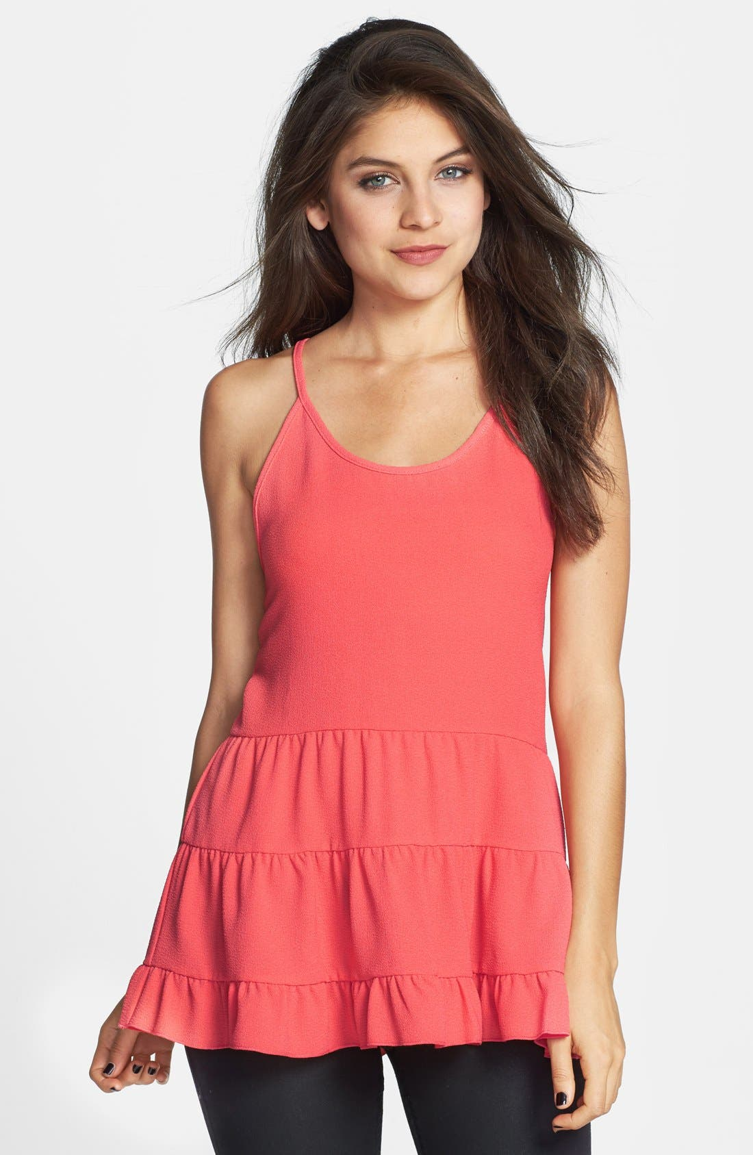 Main Image - Starling Open Back Tiered Tunic Tank (Juniors)