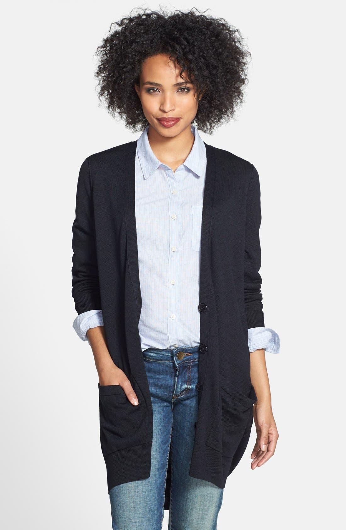 Main Image - Halogen® Slouchy Pocket Long Cardigan (Regular & Petite)