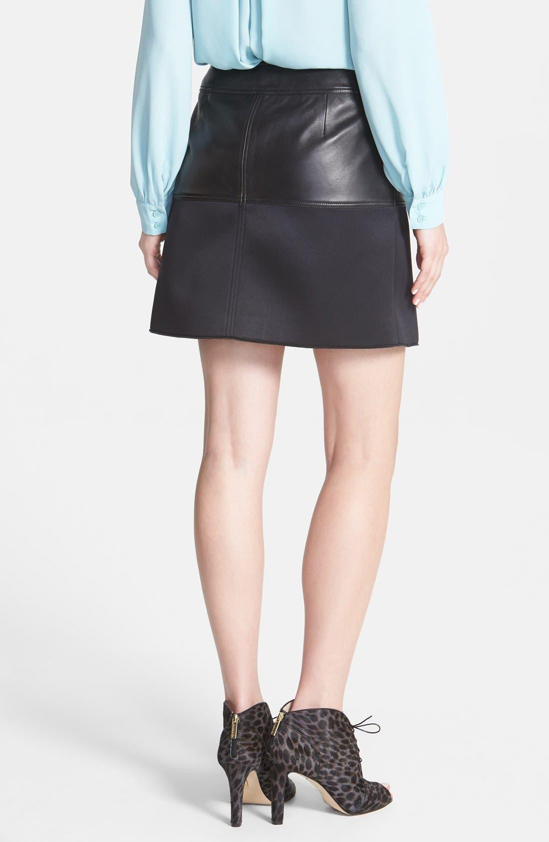 Alternate Image 2  - Halogen® Asymmetrical Zip Leather & Scuba Knit Skirt (Regular & Petite)