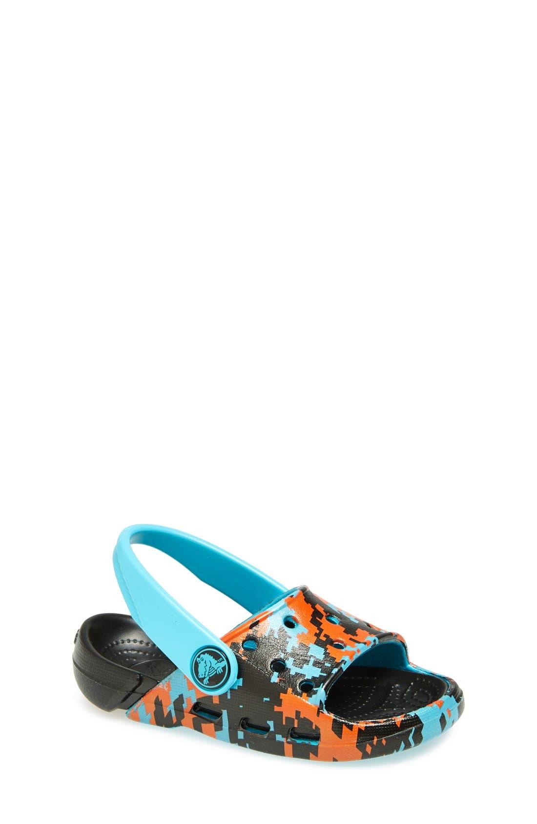 Alternate Image 1 Selected - CROCS™ 'Electro Slide - Digi Camo' Sandal (Walker, Toddler & Little Kid)