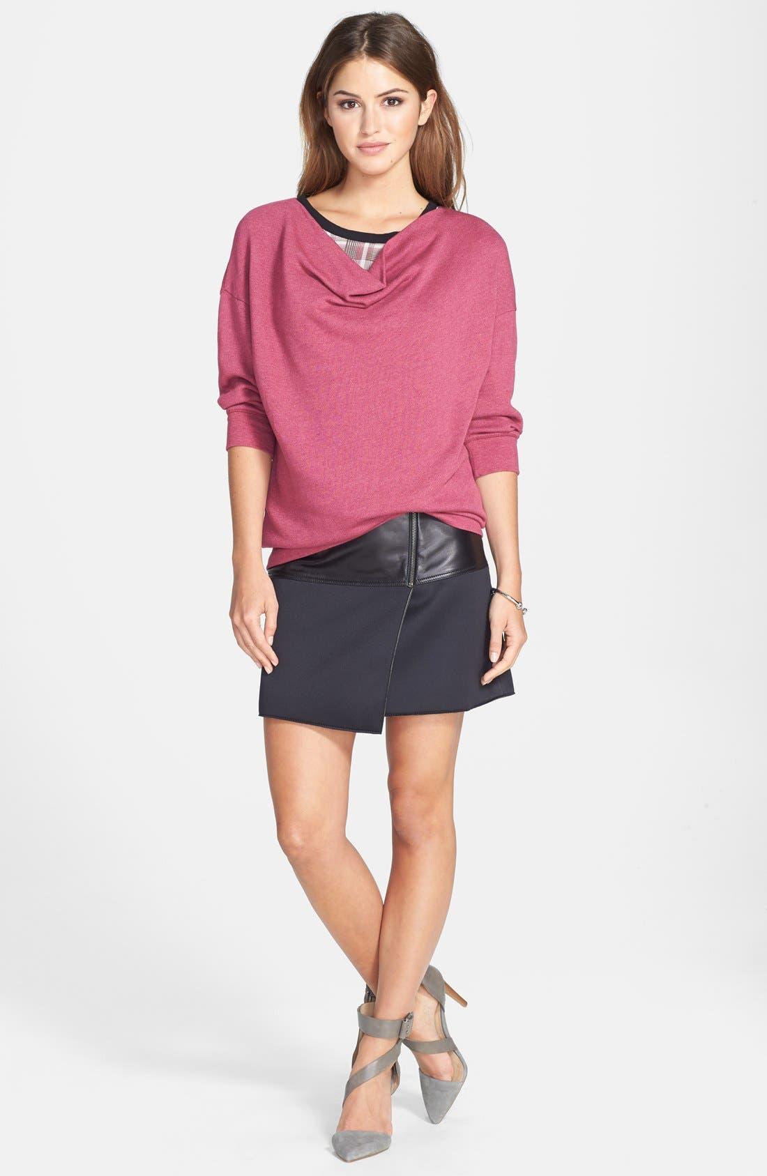 Alternate Image 9  - Halogen® Asymmetrical Zip Leather & Scuba Knit Skirt (Regular & Petite)