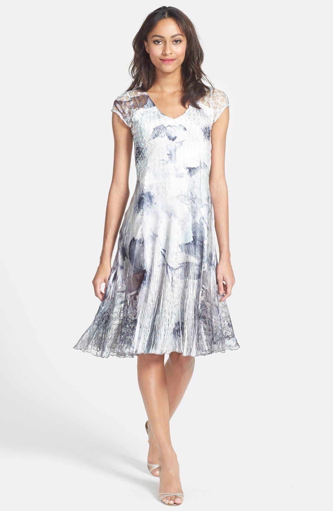Main Image - Komarov Print Charmeuse & Chiffon A-Line Dress