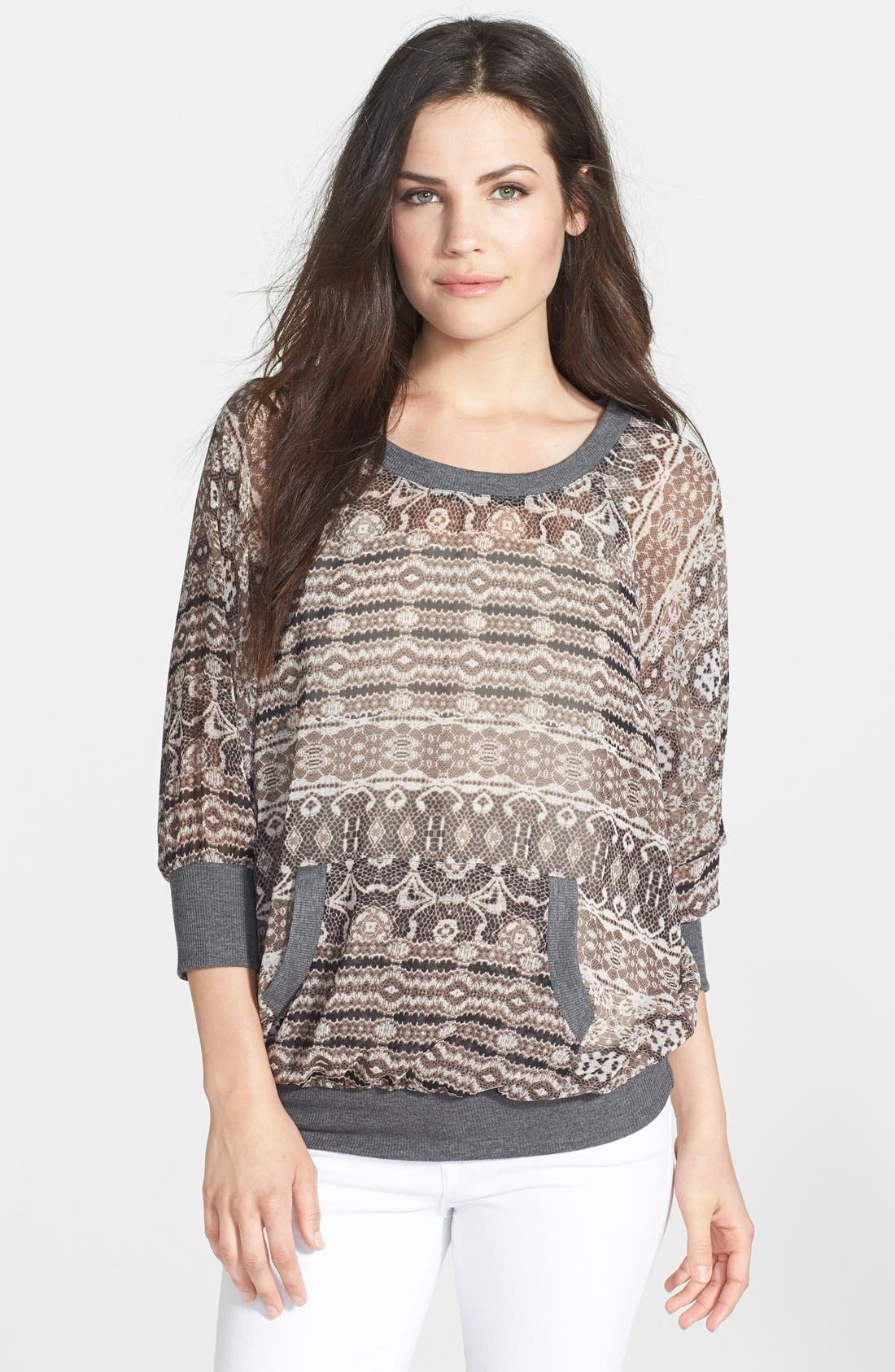 Alternate Image 1 Selected - Bobeau Front Pocket Print Top