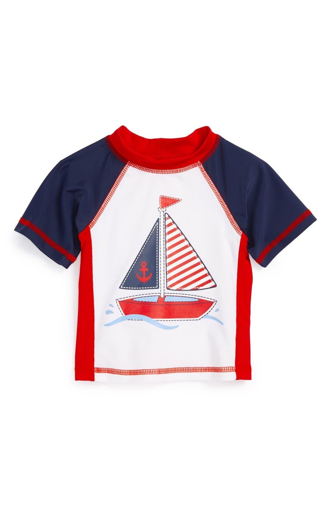 Alternate Image 1 Selected - Little Me 'Sailboat' Rashguard (Baby Boys)