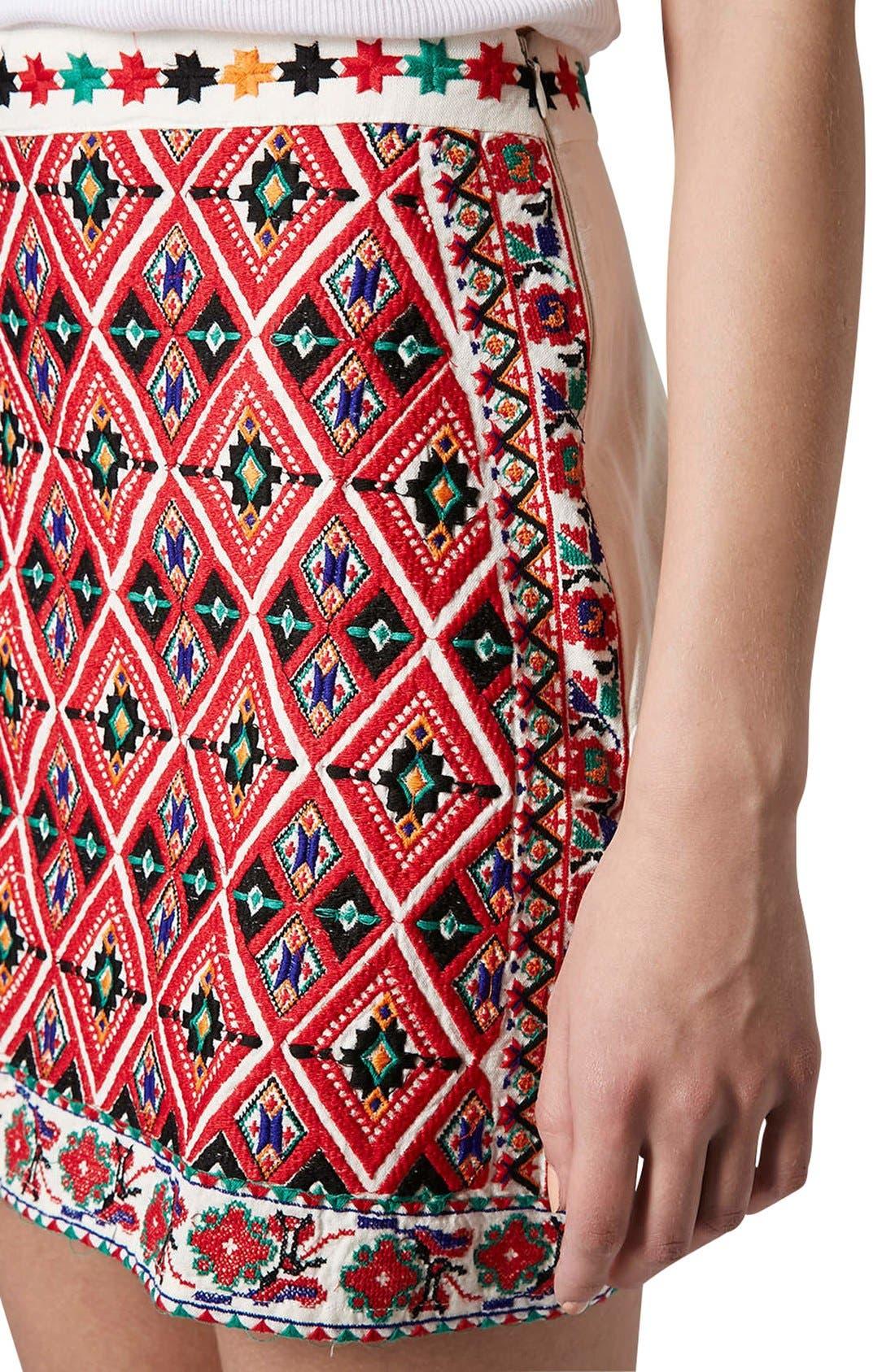 Alternate Image 4  - Topshop Embroidered A-Line Skirt