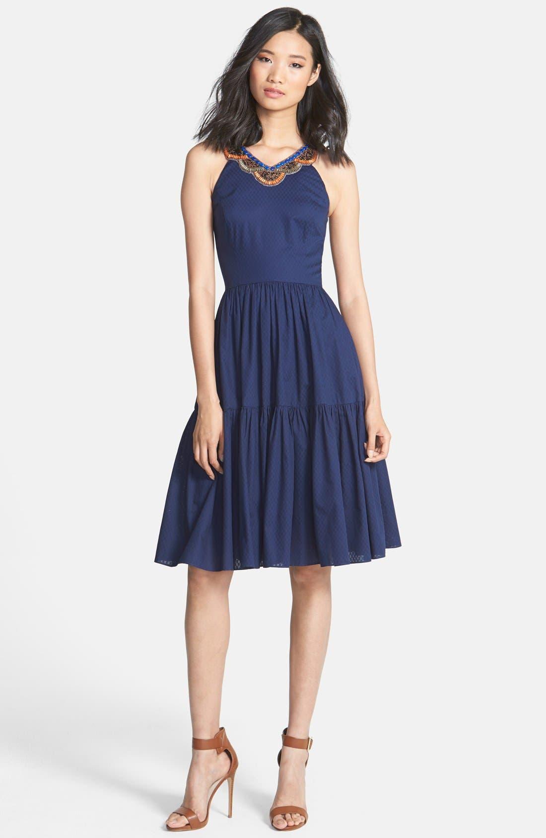 Alternate Image 3  - Cynthia Steffe 'Jett' Embellished Tiered Jacquard Midi Dress
