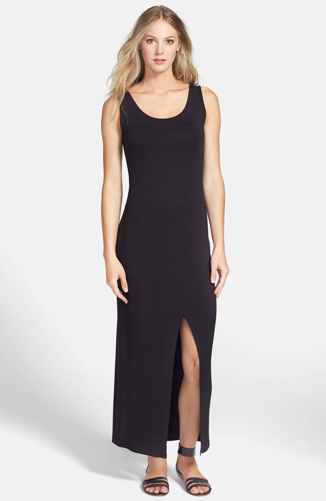 Alternate Image 1 Selected - Loveappella Wrap Skirt Tank Maxi Dress (Petite)