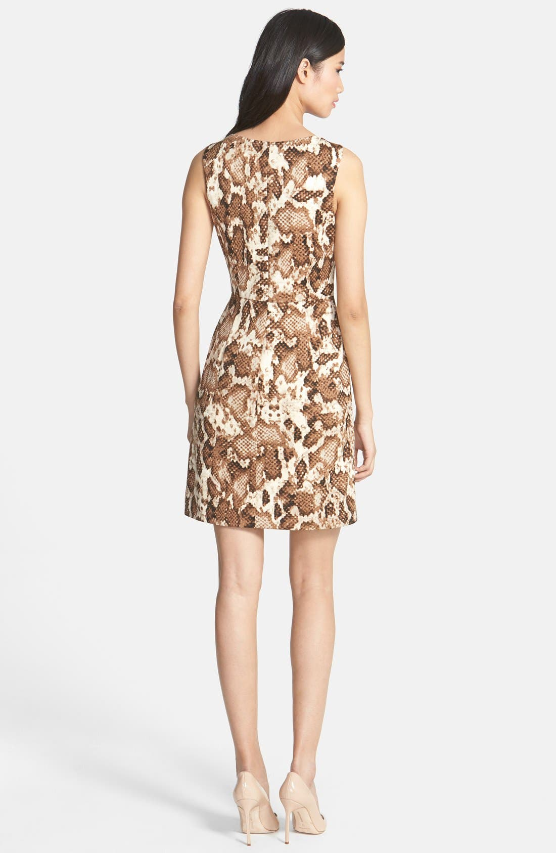 Alternate Image 2  - Vince Camuto Zip Front Snakeskin Print Scuba Dress