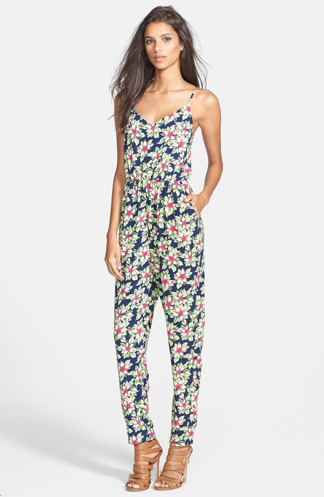 Print Jumpsuit,                         Main,                         color, Navy Exotic Flower