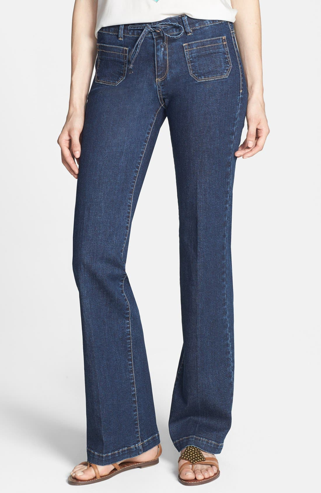 Alternate Image 1 Selected - HART Denim 'Pheona' Wide Leg Trouser Jeans (Carbon) (Juniors)