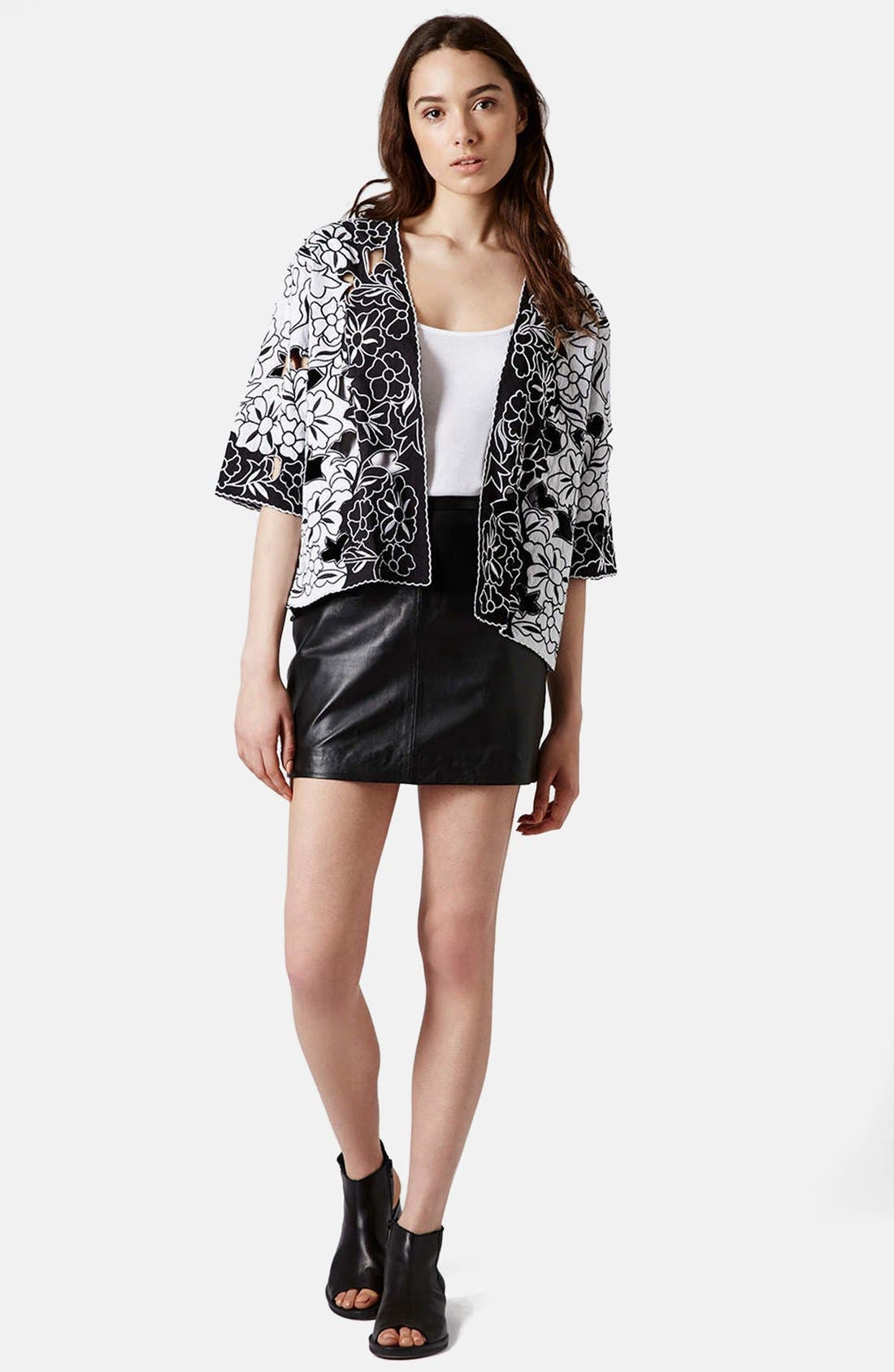 Alternate Image 5  - Topshop Cutout Embroidered Kimono Jacket