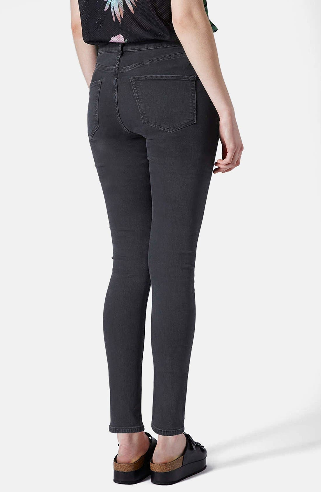 Alternate Image 2  - Topshop Moto 'Jamie' Ripped High Rise Ankle Skinny Jeans (Black) (Regular & Short)