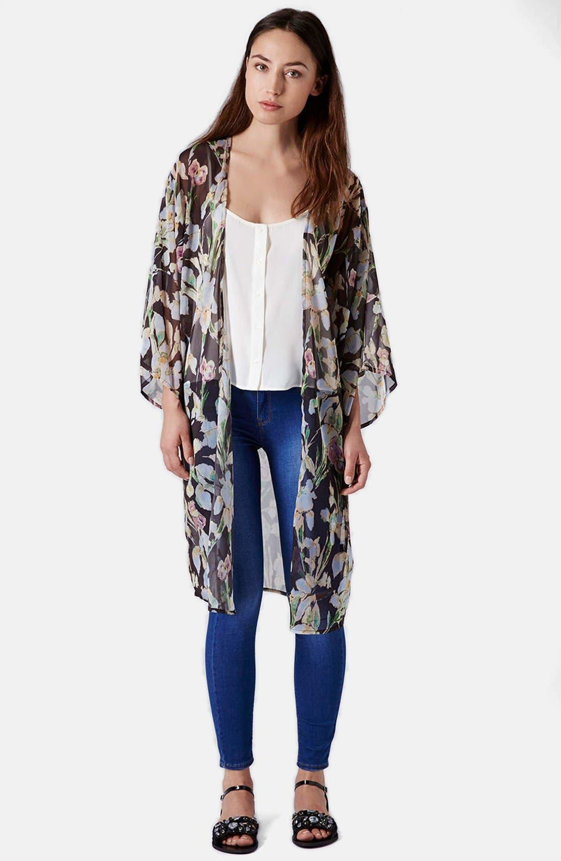 Iris Print Kimono Jacket,                             Alternate thumbnail 5, color,                             Pink Multi