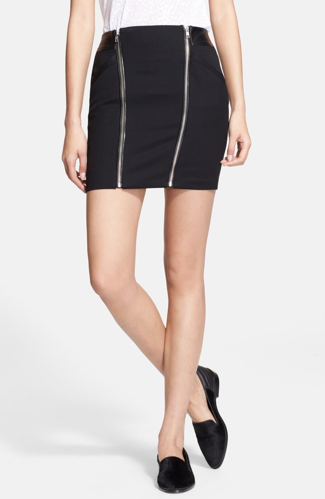Main Image - The Kooples Leather Yoke Zip Detail Miniskirt