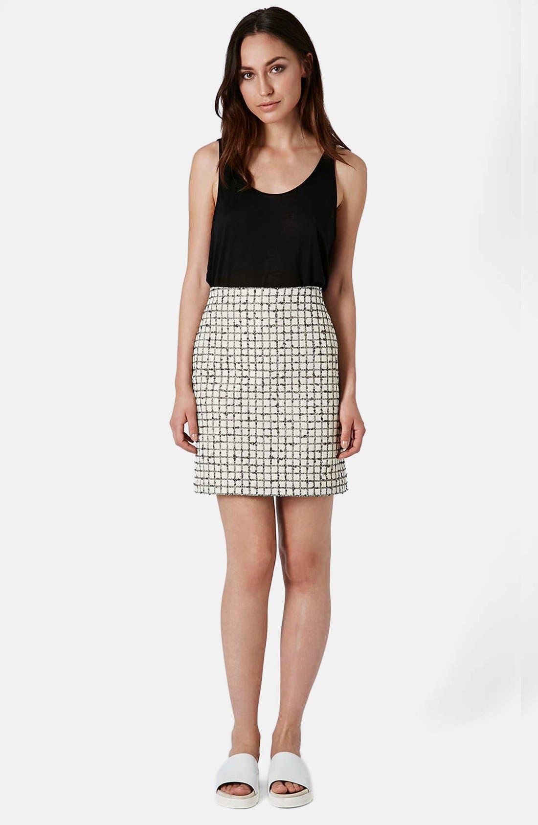 Alternate Image 5  - Topshop Boutique Textured Grid Pencil Skirt