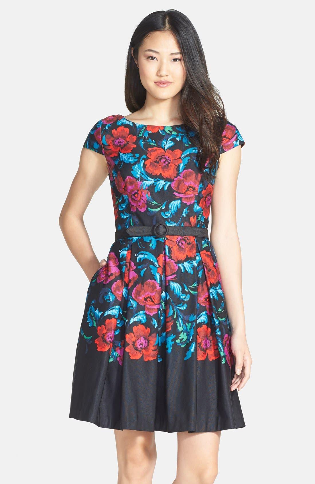 Main Image - Eliza J Floral Print Pleat Fit & Flare Dress (Regular & Petite)