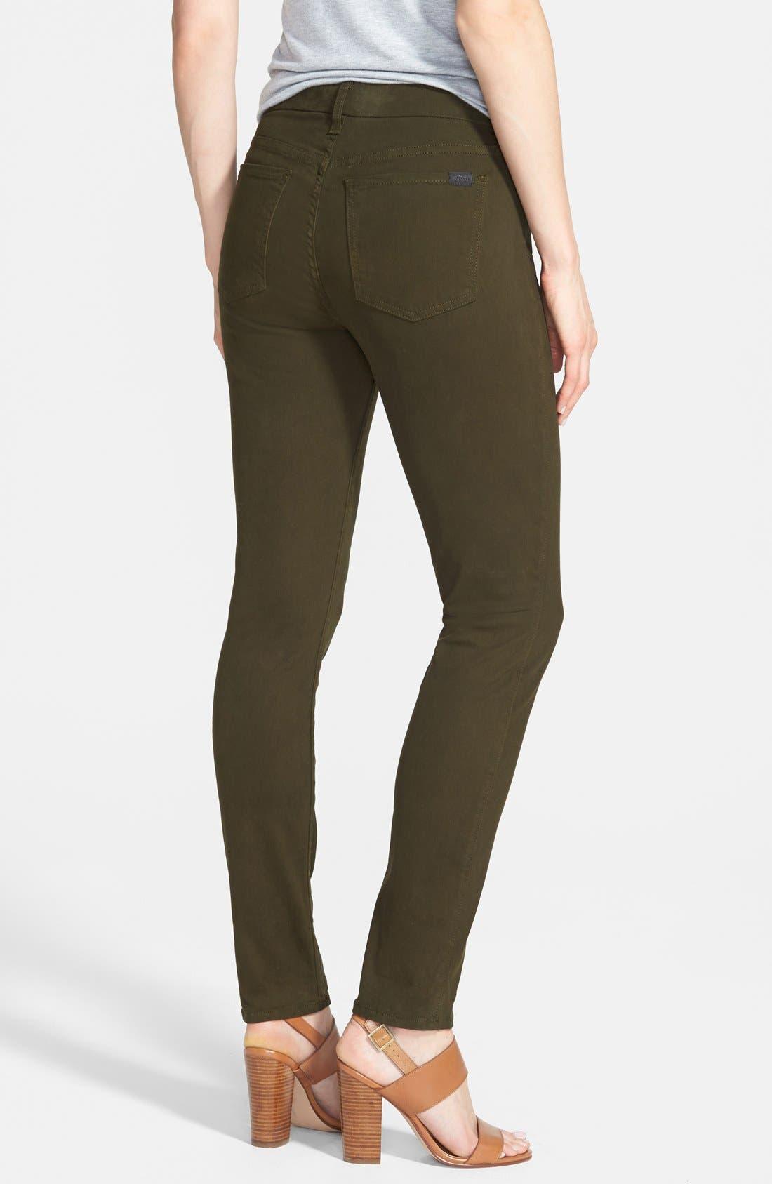 Colored Stretch Denim Skinny Jeans,                             Alternate thumbnail 2, color,                             Olive
