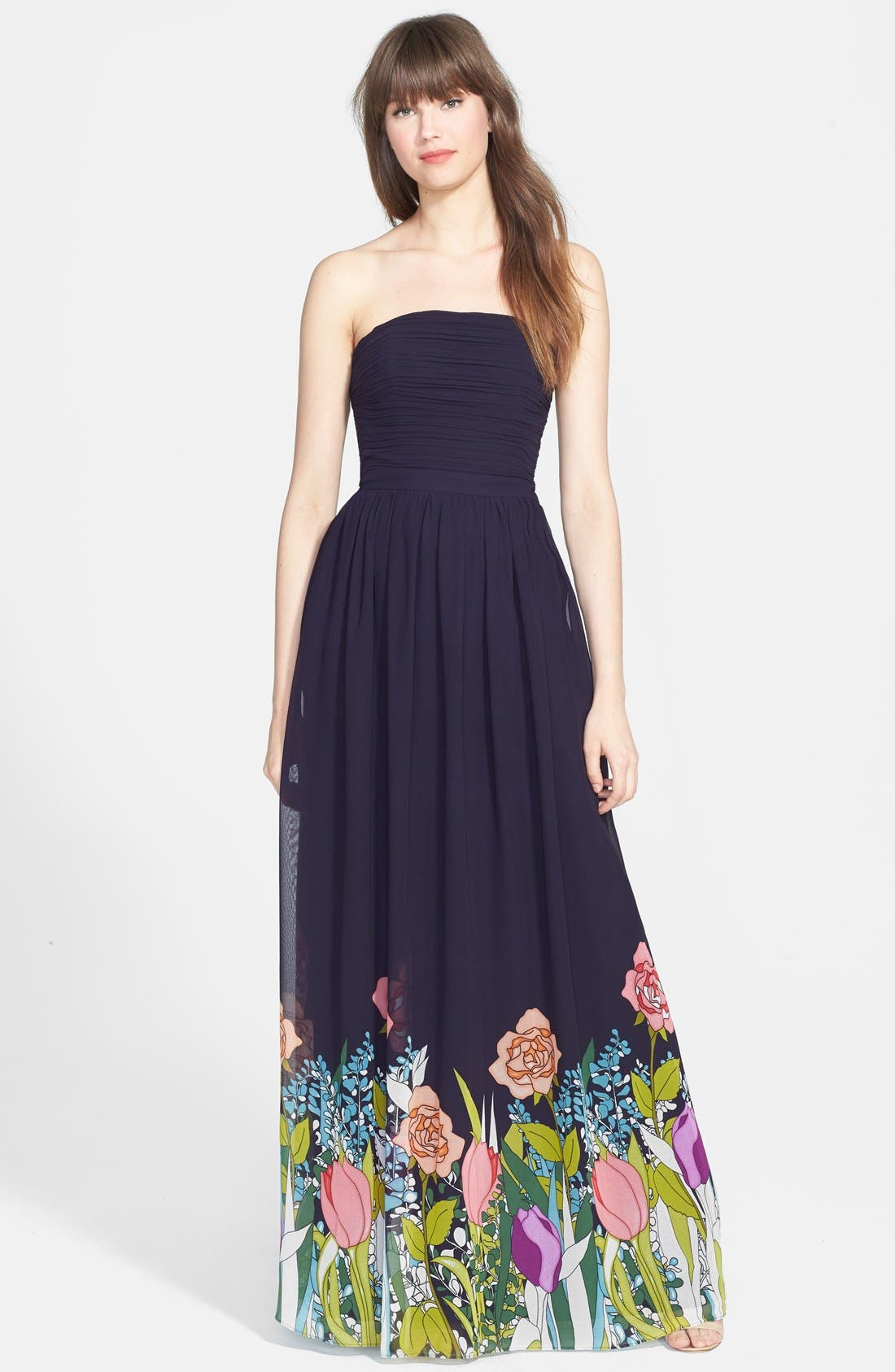Main Image - ERIN erin fetherston 'Isabelle' Print Strapless Gown