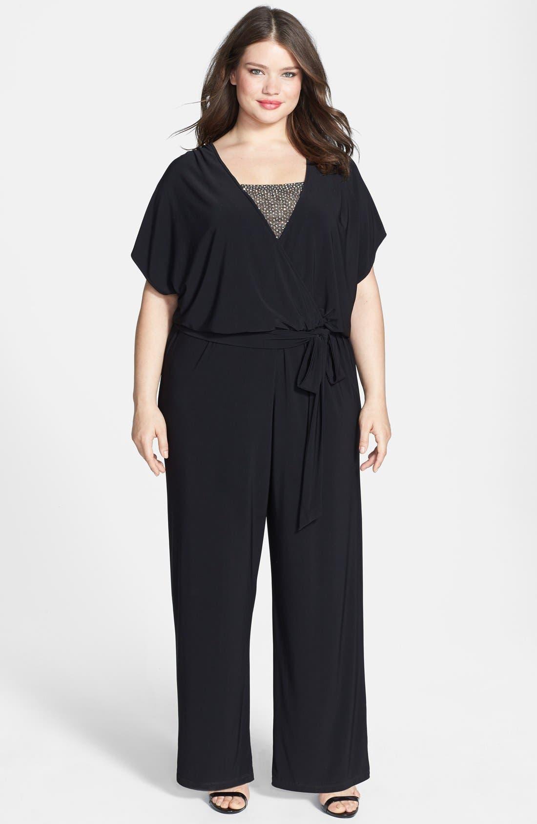 Main Image - Xscape Embellished Inset Blouson Jumpsuit (Plus Size)