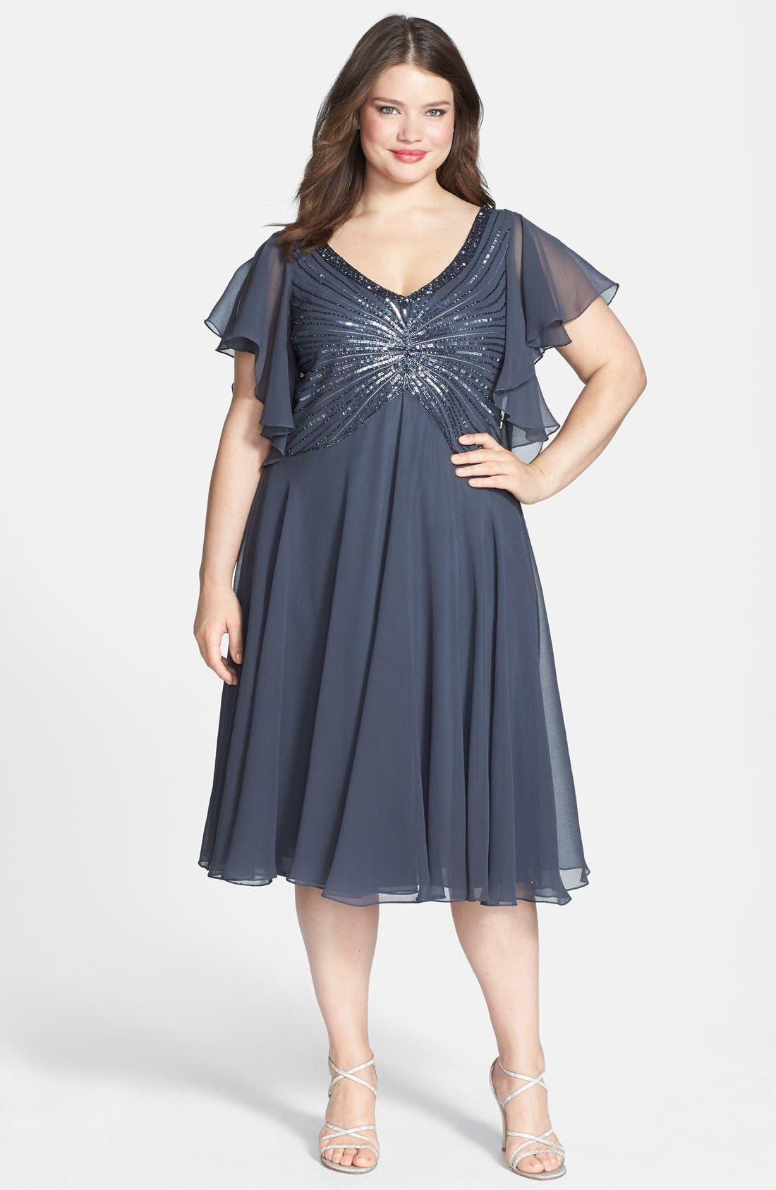 Alternate Image 1 Selected - J Kara Beaded Dress (Plus Size)