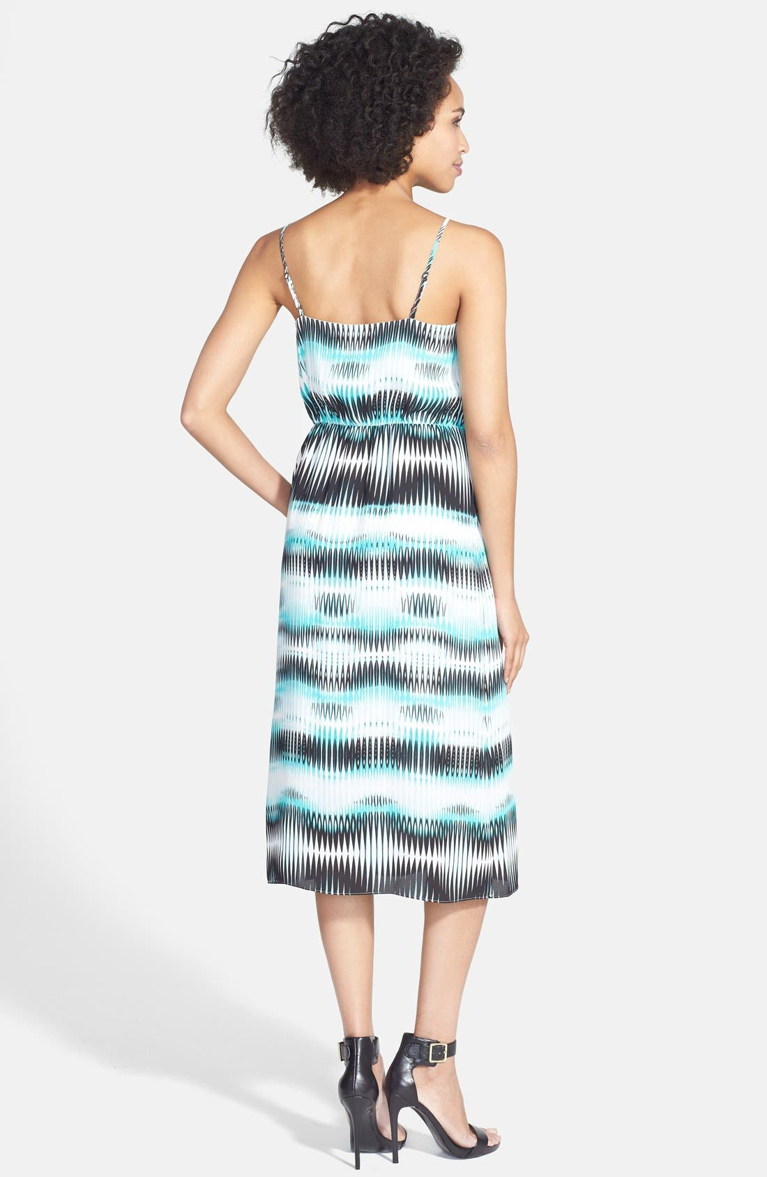 'Linear Echoes' Print Midi Dress,                             Alternate thumbnail 2, color,                             Rich Teal