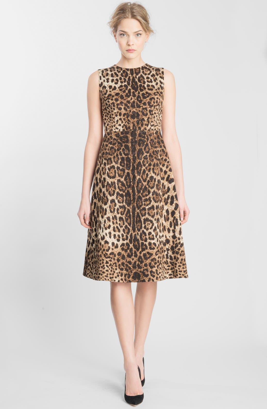 Alternate Image 1 Selected - Dolce&Gabbana Leopard Print Fit & Flare Dress