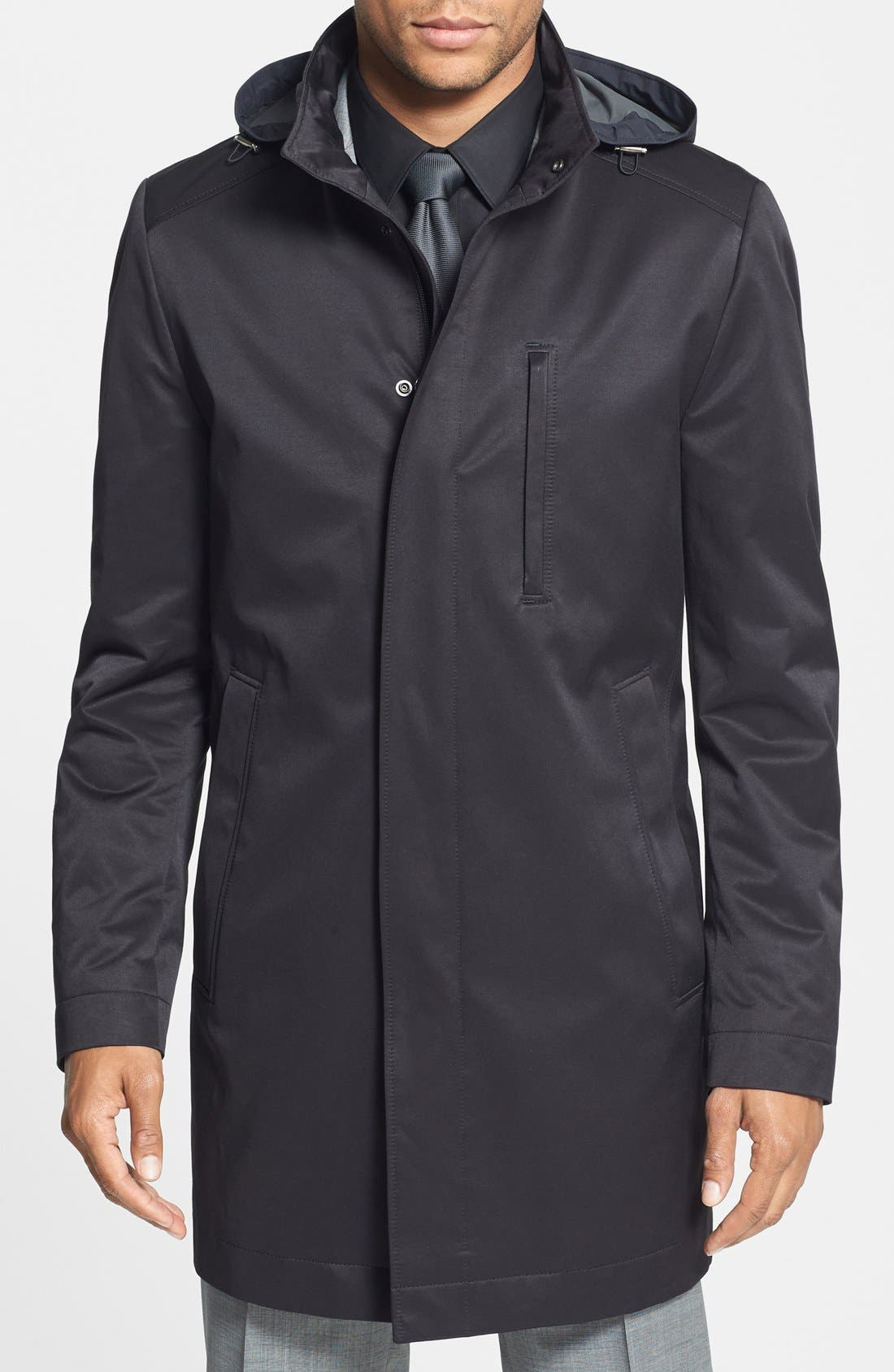 BOSS 'The Donal' Trim Fit Raincoat,                         Main,                         color, Black