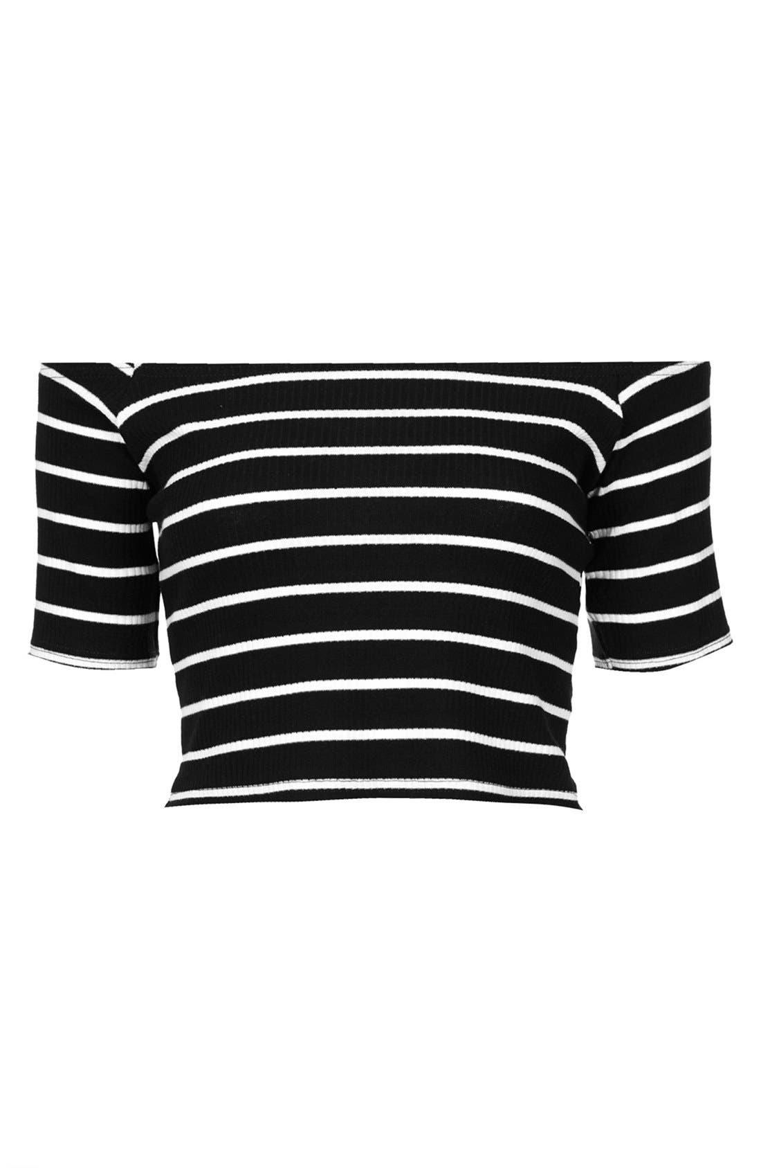 Alternate Image 3  - Topshop Stripe Rib Knit Bardot Crop Top
