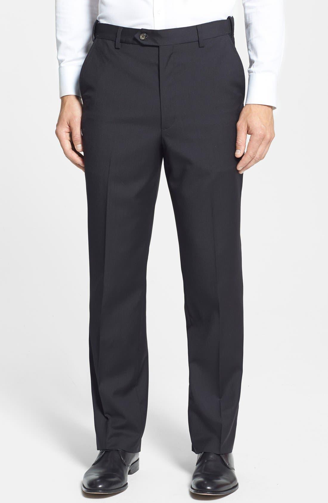Main Image - Berle Self Sizer Waist Flat Front Wool Trousers
