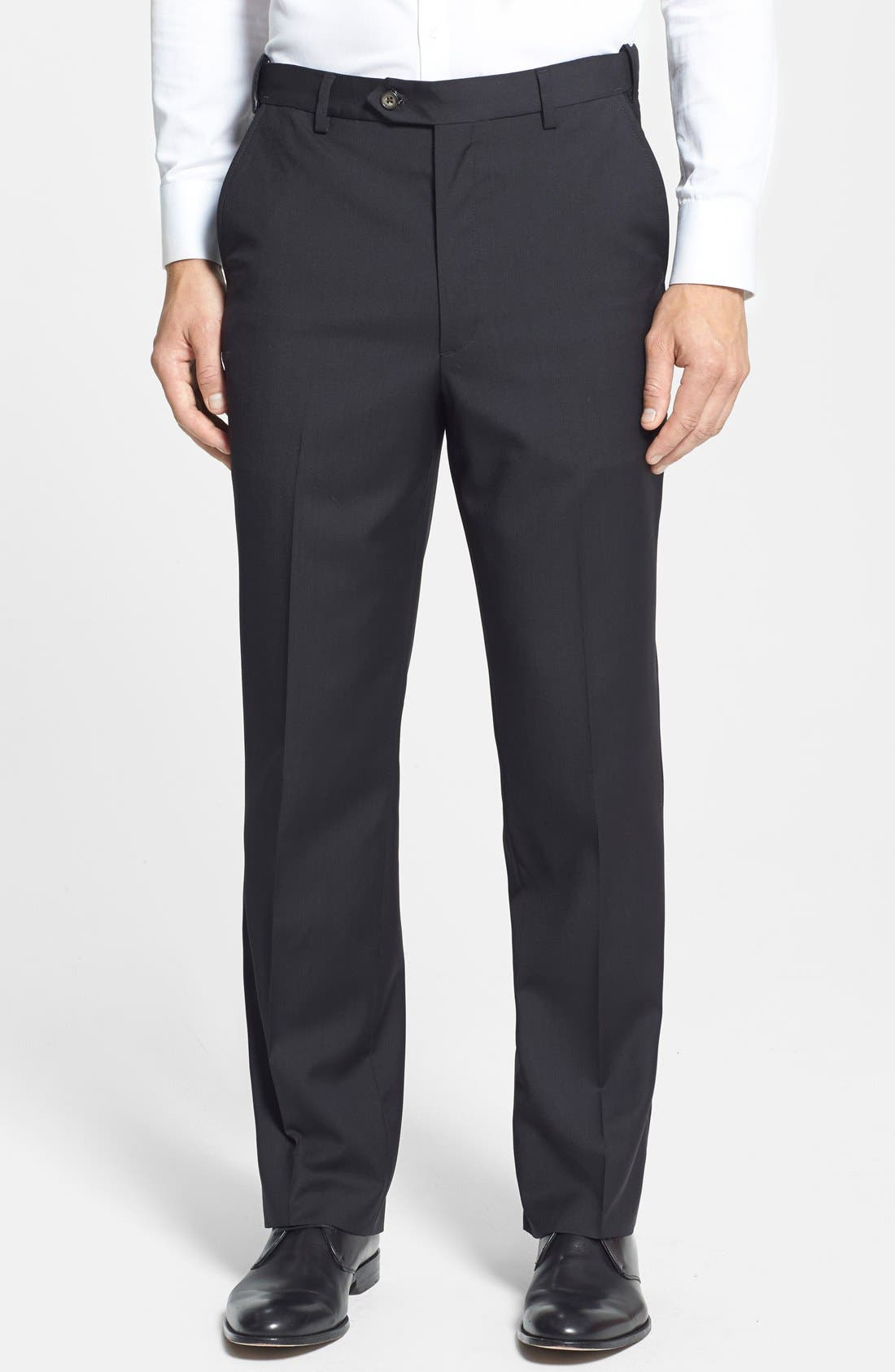 Self Sizer Waist Flat Front Wool Trousers,                         Main,                         color, Black