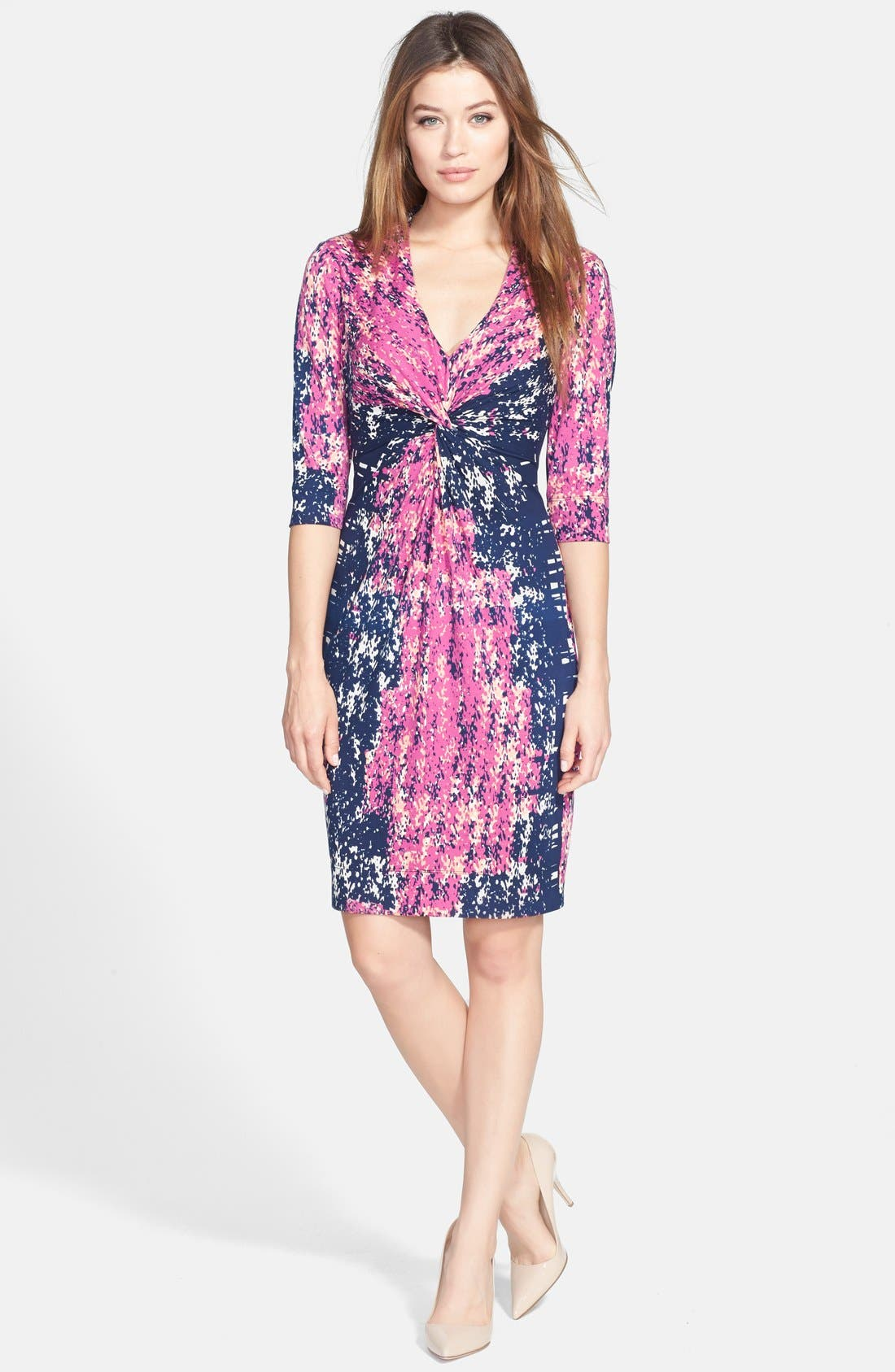Alternate Image 1 Selected - Donna Ricco Print Twist Front Jersey Dress (Regular & Petite)