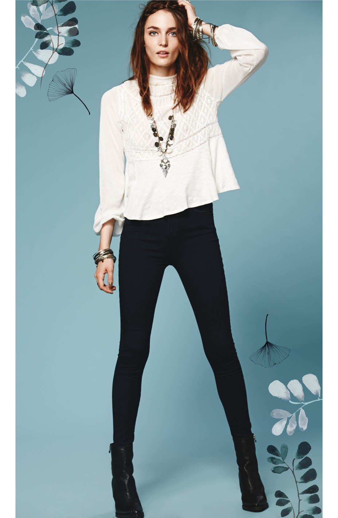Alternate Image 4  - Free People High Rise Skinny Jeans (Union)