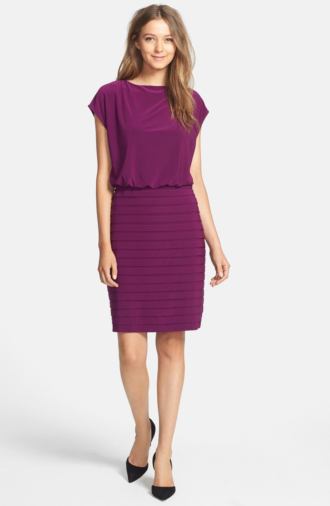 Alternate Image 3  - Adrianna Papell Pleated Jersey Blouson Dress