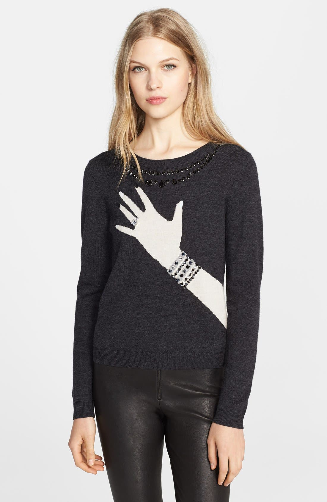 Main Image - Alice + Olivia Embellished Intarsia Knit Sweater