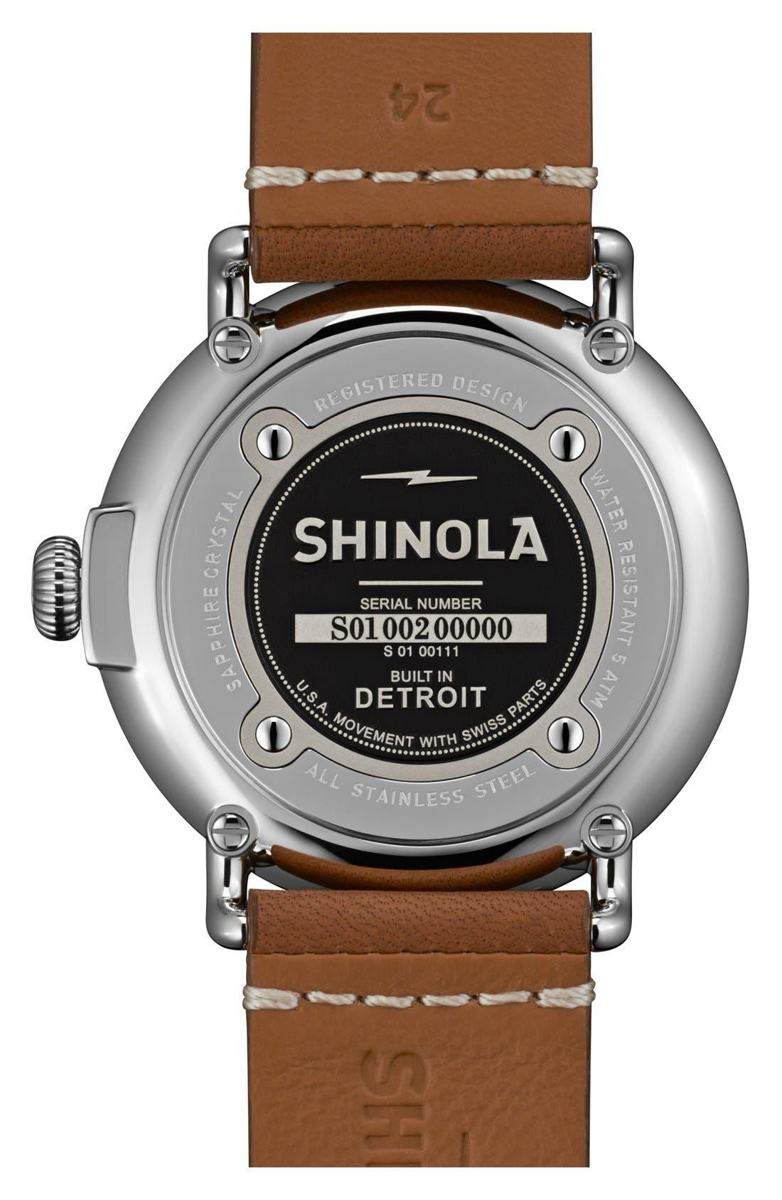 Alternate Image 2  - Shinola 'The Runwell' Round Leather Strap Watch, 47mm