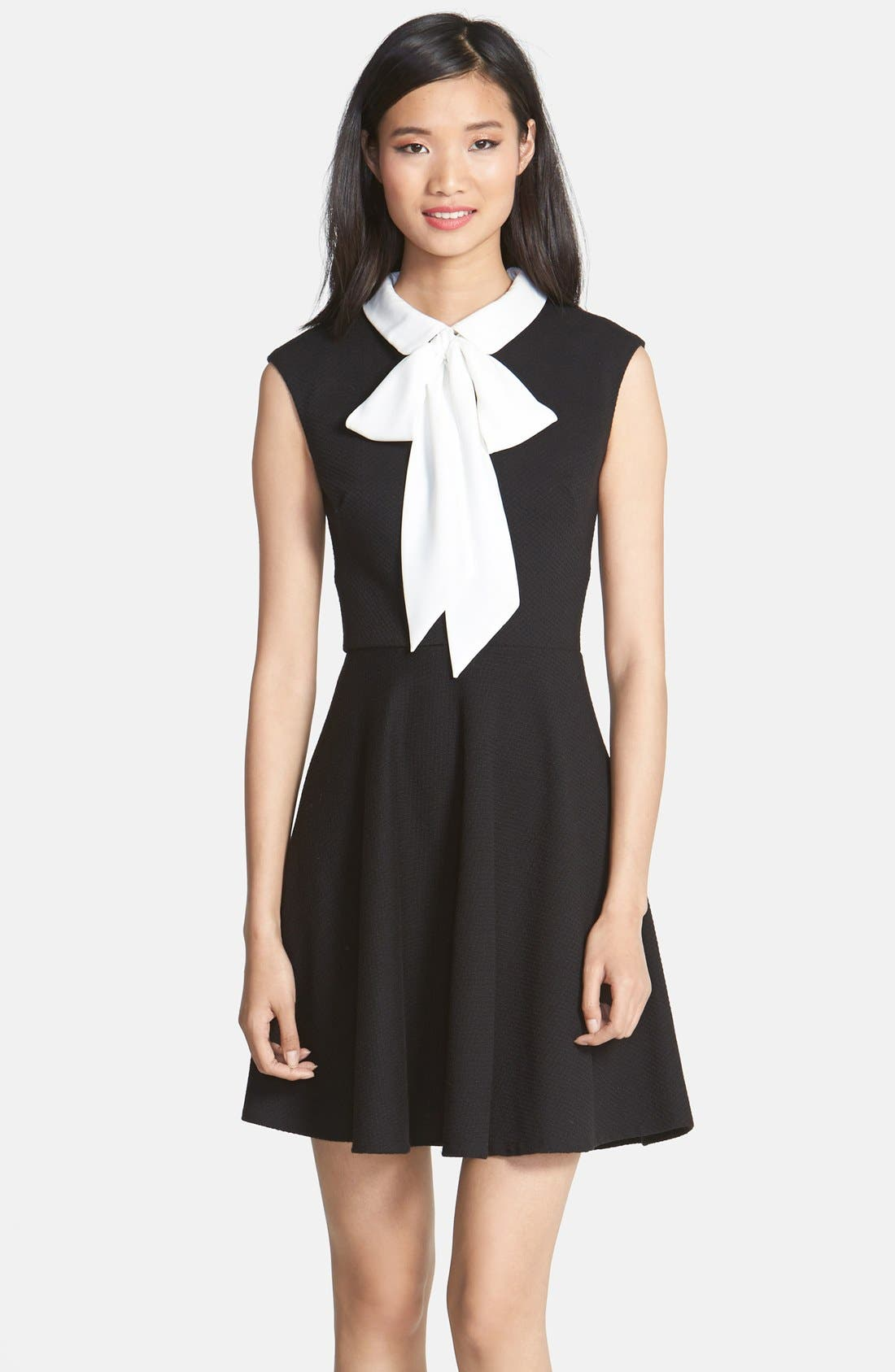 Main Image - Betsey Johnson Bow Collar Stretch Jacquard Fit & Flare Dress