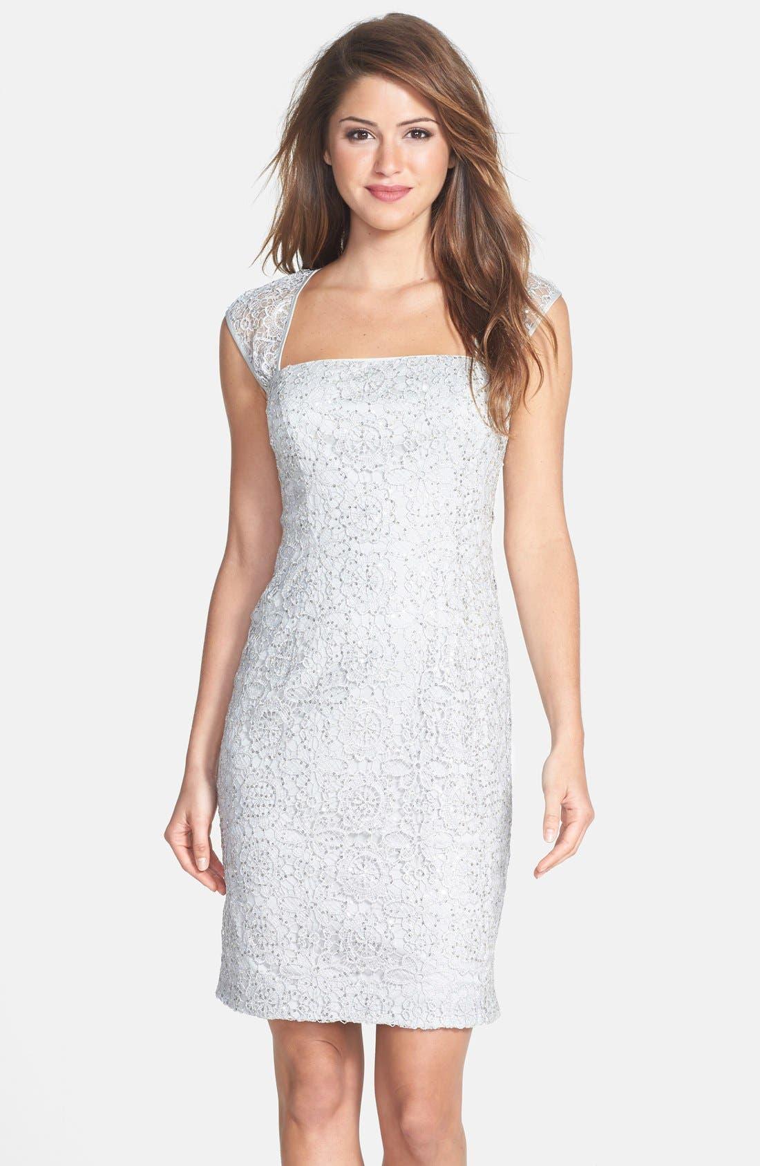 Alternate Image 1 Selected - Adrianna Papell Sequin Lace Sheath Dress (Regular & Petite)