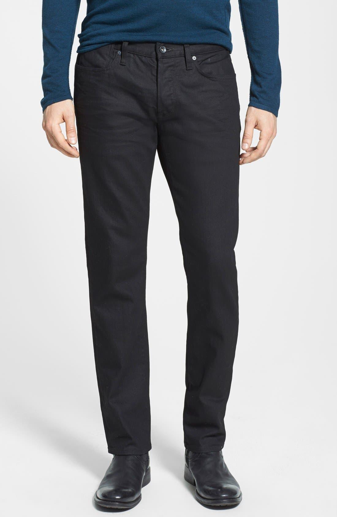 Alternate Image 1 Selected - John Varvatos Star USA 'Bowery' Slim Straight Leg Jeans (Jet Black)