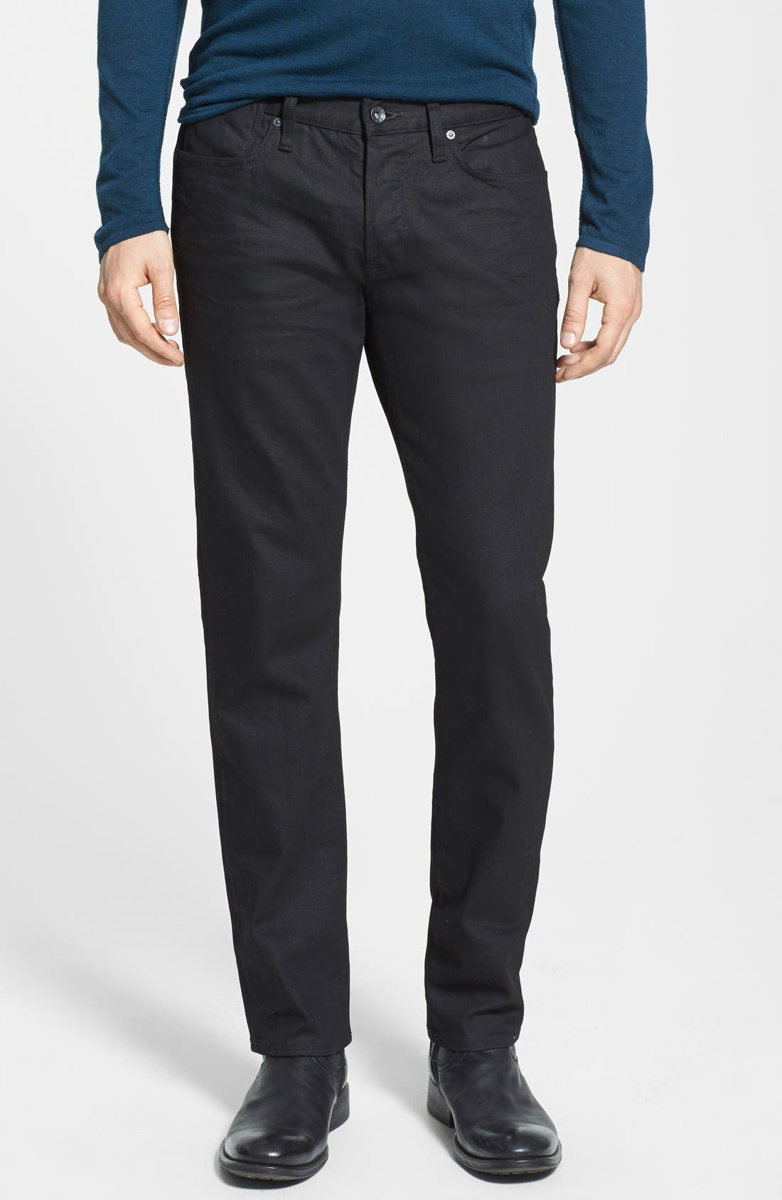 John Varvatos Star USA 'Bowery' Slim Straight Leg Jeans (Jet Black)