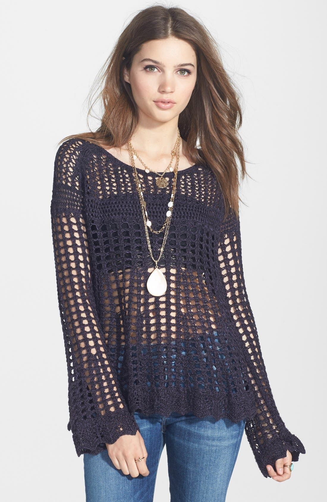 Alternate Image 1 Selected - Free People 'Annabelle' Crocheted Pullover