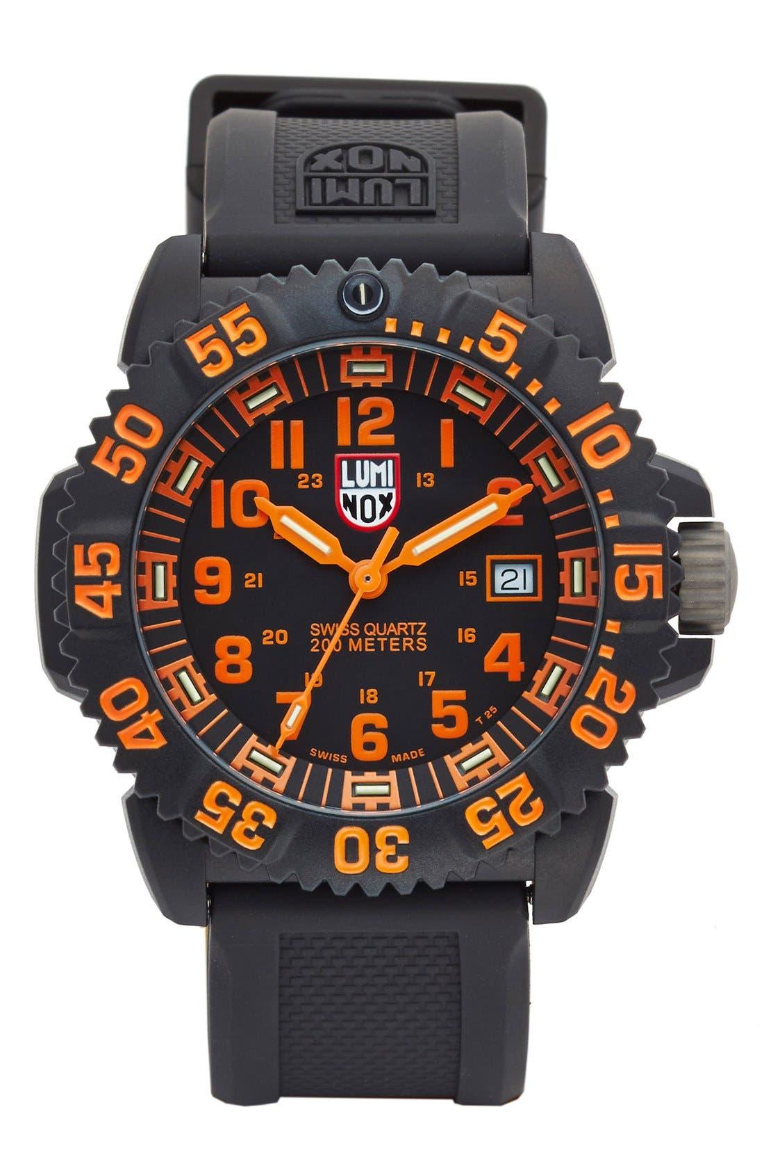 Luminox 'Sea - Navy SEAL Colormark' Silicone Strap Watch, 43mm